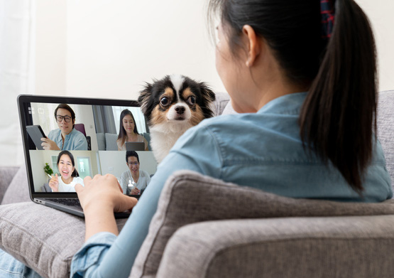 Woman staying at home and zooming with her dog looking on